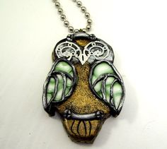 Owl Steampunk Necklace Polymer Clay by clayillusions on Etsy, $18.00