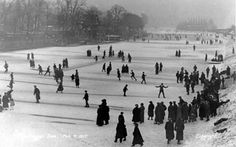 This picture was taken in 1917, its shows skaters on the frozen River Dee.