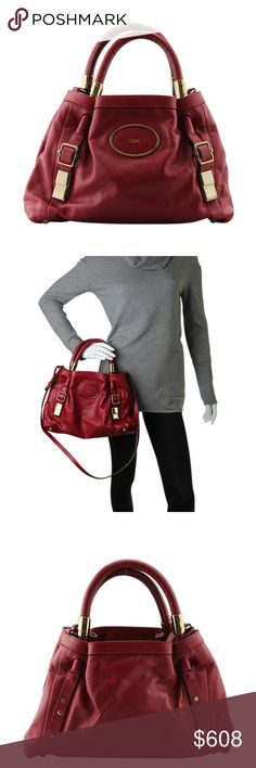 """Chloe Victoria Red Leather Satchel (128886) This Chloe Victoria satchel features:  Exterior shows creasing Hardware shows scratches •Exterior Condition: Like New •Interior Condition: Like New •Type: Satchel •Material: Leather •Origin: Romania •Interior Lining: Canvas •Hardware: Gold-Tone •Meas (L x W x H): 9x2.5x9.5 •Strap Drop: 20"""" •Handle Drop: 4.5"""" •Exterior Pockets: 0 •Interior Pockets: 1 •Odor: None •Weight: 2 lbs •Production Code: 03-09-51-5911 Chloe Bags Satchels"""