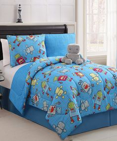 Take a look at this Mr. Robot Reversible Comforter Set by Victoria Classics on #zulily today! love the robots