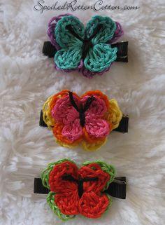 Embroidery Floss Crocheted Butterflies <3