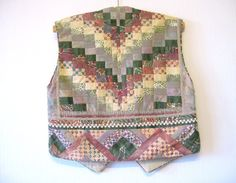 Patchwork Vest Boho Embroidered Short Pale by VintageDreamBox