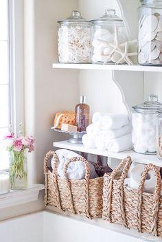 open shelving - bathroom linen closet substitute #home
