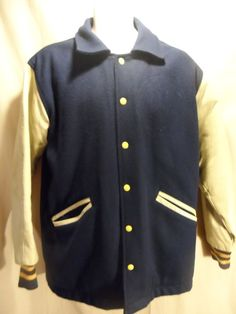 60's Men's Felco USA Jacket Coat Varsity Wool Leather Navy Blue Yellow Cream LG #Felco #VarsityBaseball