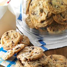 """Super Chunky Cookies Recipe -Chocolate lovers will go crazy over these cookies that feature loads of chocolate! When friends ask me to make """"those cookies,"""" I know exactly what recipe they mean.—Rebecca Jendry, Spring Branch, Texas"""