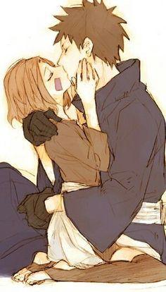 ObiRin first kiss <--- I don't like Obito, but with Rin... OMG i ship them so hard <3