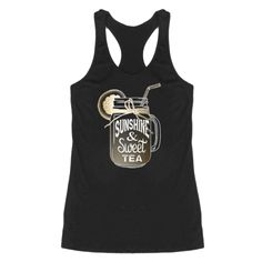 What makes a happy southern girl? Sunshine & Sweet Tea! The gold foil mason jar design pops on this black tank top! Made in the USA! The sizing of this tank