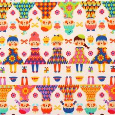 cream Cosmo girl children fabric from Japan with girls in rows