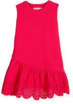 Helena Sleeveless Jacquard Laser-Cut Dress, Fuchsia, Size 7-14