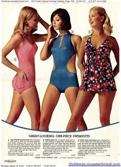 1974 Sears Spring Summer Catalog, Page 128 - Christmas Catalogs & Holiday Wishbooks 1974 Fashion, Seventies Fashion, 60s And 70s Fashion, Retro Fashion, Vintage Fashion, Vintage Bathing Suits, Vintage Swimsuits, Retro Swimwear, 70s Outfits