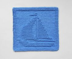 Blue SAILBOAT Wash Cloth or Knit Dishcloth  - Sailor Sailing Decor - UNIQUE Hand Knitted 100% Cotton - Baby Shower Gift, Nautical Decor