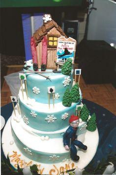 Ski Lodge Theme Bar Mitzvah Cake by The Event Of A Lifetime, Inc. Golf Birthday Cakes, 40th Birthday, Snowboard Cake, Snow Wedding, Cake Factory, Skiing, Snowboarding, Cake Bars, Edible Cake
