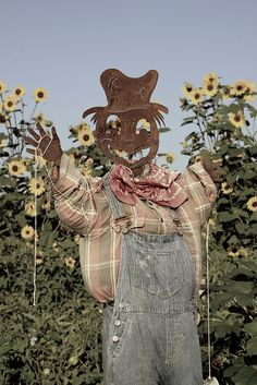Pale and rusty scarecrow