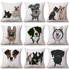 Bulldog Husky Dog Dachshund Cushion Cotton Linen Pillowcase Decorative Pillows Use For Home Sofa Car Office Almofadas Cojines