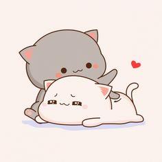 Cute Bear Drawings, Cute Animal Drawings Kawaii, Cute Kawaii Animals, Kawaii Cat, Kawaii Anime, Cute Anime Cat, Cute Cat Gif, Cute Love Pictures, Cute Love Gif