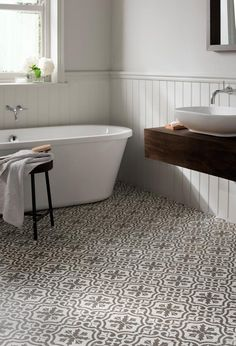 Spanish-style patterned bathroom floor tiles, an easy way to decorate from http://www.redonline.co.uk