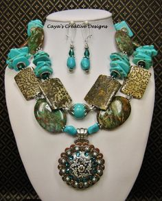 Western Cowgirl Necklace Set / Howlite Turquoise Statement