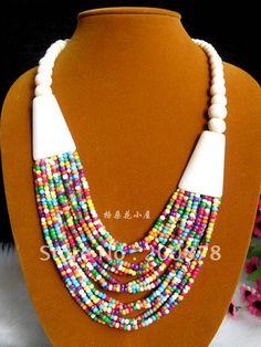 TNL452  Tibetan colorful Yak bone beaded necklace,multi strands statement,ethnic fashion
