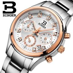 52.63$  Watch now - http://aibns.worlditems.win/all/product.php?id=32547428473 - Switzerland Binger watches women luxury quartz waterproof full stainless steel Chronograph Wristwatches BG6019-W2