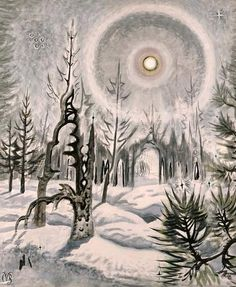 """""""Winter Moonlight"""" 1951 watercolor on paper by Charles Burchfield.  Size: 40"""" X 33"""""""