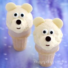 Chill out with some adorable Ice Cream Cone Polar Bears made from homemade Toasted Coconut Cheesecake Ice Cream.