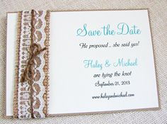 Items similar to Rustic Lace and Burlap Wedding Invitation Save the Date on Etsy