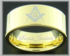 18kt Yellow Gold Tungsten Masonic Ring Engraved with Freemason Square and Compass.  Free Inside Engraving. Sunsetjewelers.com