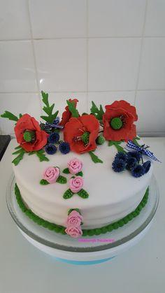 Klaprozen/korenbloemen taart