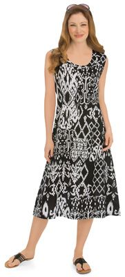 Batik Printed Scoop Neck Button Front Dress