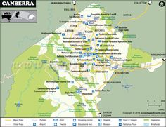 map of Canberra city Australia shows major roads, tourist attractions places to visit, lakes, parks, etc. Dinosaur Museum, Australian National University, Australian Capital Territory, University University, Australia Map, Country Maps, Nature Reserve, Roman Catholic, Capital City
