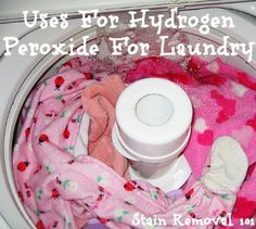 The primary use of hydrogen peroxide for laundry is to brighten clothes and remove stains from your laundry. You can use this product as a substitute. - Suggests adding eight ounces of a solution of hydrogen peroxide to each load of laundry. Homemade Cleaning Products, Cleaning Recipes, Natural Cleaning Products, Cleaning Hacks, Cleaning Crew, Kitchen Cleaning, Kitchen Hacks, Cleaners Homemade, Diy Cleaners