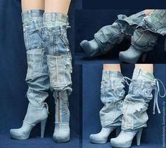 """Обувь ручной работы. Ботфорты-трансформеры """"Львица"""" джинсовые на платформе. Denim Boots (джинсовая обувь). Ярмарка Мастеров. Джинса"""