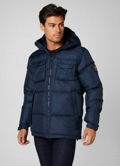 The Norse Down Jacket is a classic looking, lightweight and warm down jacket for fall and winter. Workwear inspired pocket detailing and Norse badge inspired by Helly Hansen, heritage and the Norwegian flag makes it stand out from the crowd. Shop it at mallofnorway.com/ Norwegian Flag, Warm Down, Helly Hansen, Pocket Detail, Workwear, Crowd, Badge, Winter Jackets, Inspired