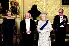 sloaneonthethrone:  Irish State Visit to the United Kingdom, April 8, 2014-State Dinner-First Lady Sabina Coyne Higgins, Irish President Michael D. Higgins, Queen Elizabeth II and The Duke of Edinburgh.