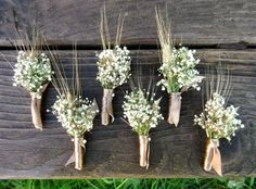Simple Summer Wheat Boutonniere Dried Wedding by SeasonalBounty