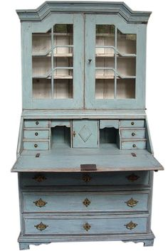 pictures of painted secretaries | Light Blue, Green And Gray Painted Furniture Aged And Layered Paint ...