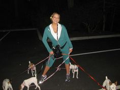 Mariah Carey  jogging with her Jack Russells