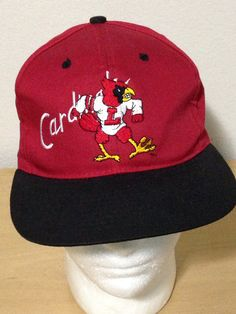 e54db2792ca University Louisville Cardinals VTG 90s Pioneer Snapback Red Cap Hat on  Etsy