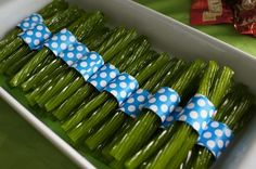 Seaweed bundles made from Green Apple licorice for a Little Mermaid Party