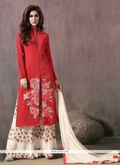 Elite Print Work Red Georgette Designer Palazzo Salwar Suit Model: YOS7120