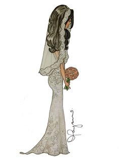 "Bridal Fashion Illustration ""Isabella"" by Diamar Payano  #bride #wedding #sketch…"