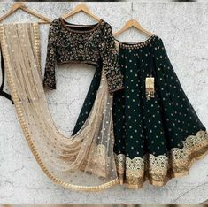 Indian Fashion Dresses, Indian Bridal Outfits, Indian Gowns Dresses, Dress Indian Style, Indian Designer Outfits, Black Lehenga, Indian Lehenga, Green Lehenga, Indian Attire