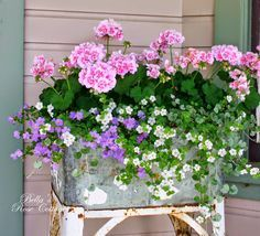 Pastel container gardening begonia metal tub window box - supported window box recycle reuse shabby chic