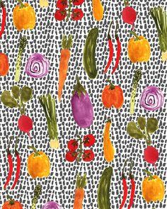 Colorful #Vegetables. #pattern #illustration. http://obus.com.au/