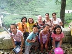These are some of the volunteers that made the day possible. Mandy Ma (in orange blouse) is our contact in the Tourism Bureau that planned the day and arranged the activities. Next to her is our college intern Anne O'Brien. Next to me is our board member Xiaomin Mai with her sister Xiaoyuan Mai, who planned the dental clinic. The children are from Nanning and came with their volunteer parents.