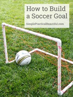 a DIY soccer goal made with PVC pipes Make your own DIY soccer goal with some PVC pipe and joints and some netting. It's an easy DIY project, and a great gift for a soccer-loving kid. Pipe Diy Projects, Pvc Pipe Crafts, Diy Pipe, Diy Projects For Kids, Diy For Kids, Welding Projects, Diy Crafts, Kids Soccer Goal, Soccer Goals