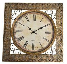 "AmazonSmile: Lulu Decor, Square Antique Metal Wall Clock, Size 16.50"", Retro Wall Clock: Home & Kitchen"