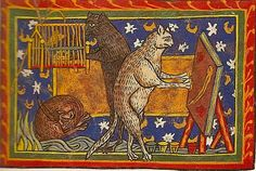 """""""This medieval bestiary illustration acknowledges the practice of 'painting' by cats in the Middle Ages. Because cats were regarded as agents of the devil during this period, they are depicted here as evil  alchemists about to transmute the caged bird and sleeping dog, prey and enemy of the cat, into gold."""""""