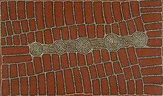 Walala Tjapaltjarri (b. c1969-)  Region: Wilkinkarra (Lake Mackay) & Kiwirrkurra, WA  Language group: Pintupi  Tingari Cycle (Rocky Outcrop) 2002