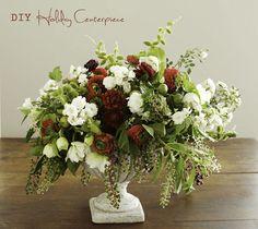 """I love putting together holiday arrangements that don't scream """"holiday arrangement"""". While I love poinsettia, amaryllis, and other traditionally """"holiday"""" flowers during this season, it is also really easy not to use them if you don't want to. Holiday Centerpieces, Centerpiece Decorations, Floral Centerpieces, Christmas Decorations, Holiday Decor, White Centerpiece, Holiday Parties, Beautiful Flower Arrangements, Floral Arrangements"""